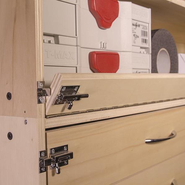 bandeau rabattable pour étagère en bois