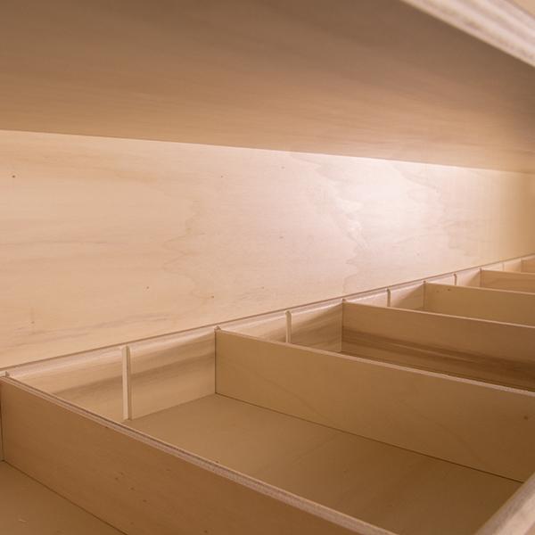 Séparations d'étagères en bois pour VUL